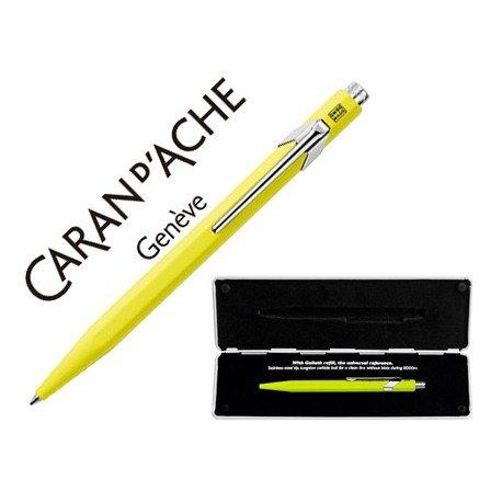 Boligrafo marca Caran d'ache 849 Pop line amarillo fluor estuche