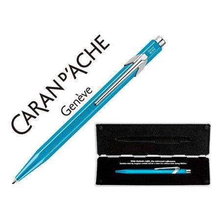 Boligrafo marca Caran d'ache 849 Pop line metalizado turquesa estuche