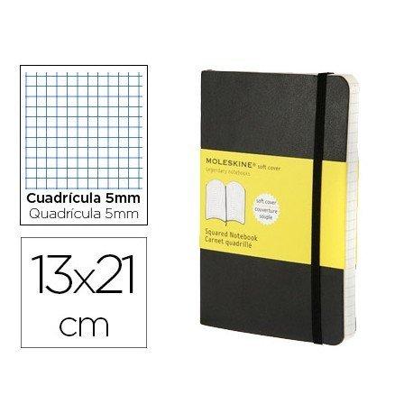 Libreta Moleskine tapa blanda cuadricula color negro 13x21 cm
