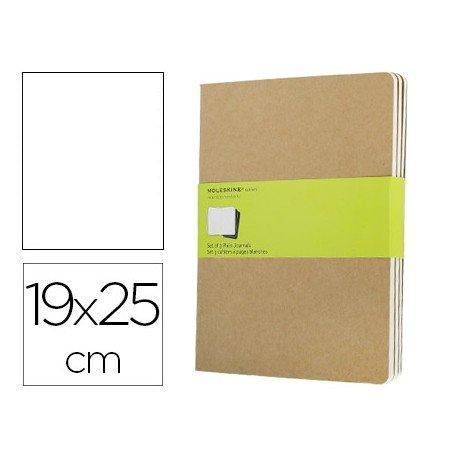 Libreta Moleskine tapa blanda liso color kraft pack (3) 19x25 cm