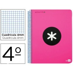 Bloc Liderpapel Cuarto Serie Antartik cuadricula color rosa
