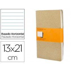 Libreta Moleskine tapa blanda rayado color kraft pack (3) 13x21 cm