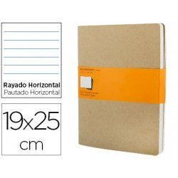 Libreta Moleskine tapa blanda rayado color kraft pack (3) 19x25 cm