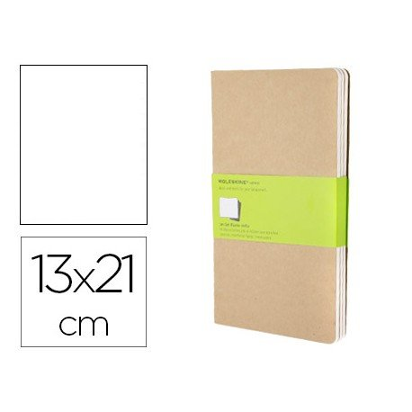 Libreta Moleskine tapa blanda liso color kraft pack (3) 13x21 cm