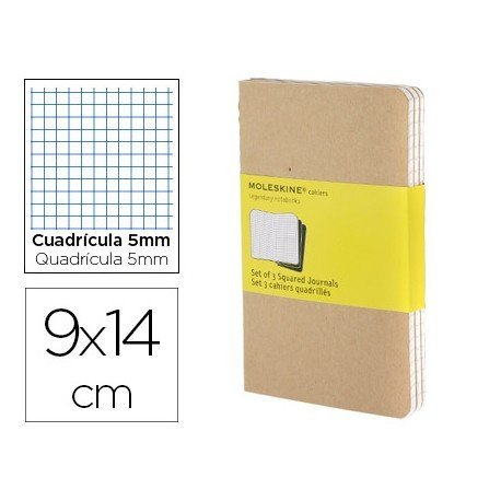 Libreta Moleskine tapa blanda cuadricula color kraft pack (3) 9x14 cm