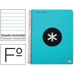 Bloc Antartik Folio Rayado Horizontal tapa Plástico 100g/m2 Turquesa con margen