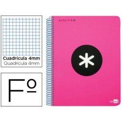 Bloc Antartik Folio Cuadrícula tapa Plástico 100g/m2 Rosa Flúor con margen