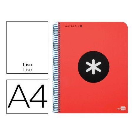 Bloc Antartik A4 Liso tapa Plástico 100g/m2 Rojo 5 bandas color