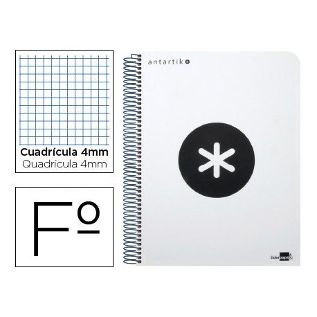 Bloc Antartik Folio Cuadrícula tapa Dura 100g/m2 Blanco con margen