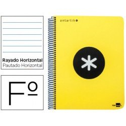 Bloc Antartik Folio Rayado Horizontal tapa Dura 100g/m2 Amarillo Flúor con margen