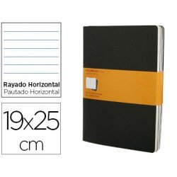 Libreta marca Moleskine tapa blanda rayado color negro pack (3) 19x25 cm- SET 3 LIBRETAS