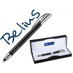 Boligrafo Belius negro con puntero tactil