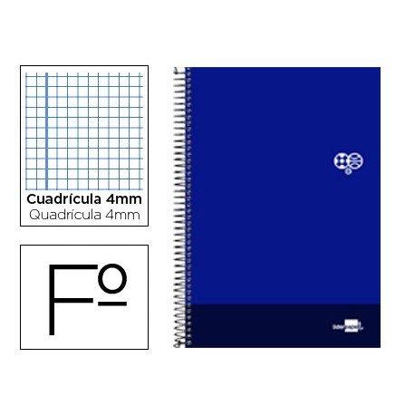 Bloc Liderpapel serie Discover folio cartoncillo cuadricula 4 mm color azul marino