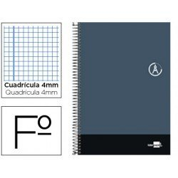 Bloc Liderpapel serie Discover folio cartoncillo cuadricula 4 mm color gris