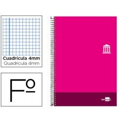 Bloc Liderpapel serie Discover folio cartoncillo cuadricula 4 mm color rosa