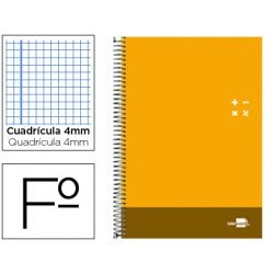 Bloc Liderpapel serie Discover folio cartoncillo cuadricula 4 mm color naranja