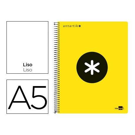 Bloc Antartik A5 Liso tapa Plástico 100g/m2 Amarillo 5 bandas color