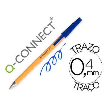 Boligrafo naranja Q-Connect color Azul Fino