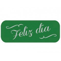 Etiqueta marca Arguval Feliz Dia verde rollo de 250 unidades