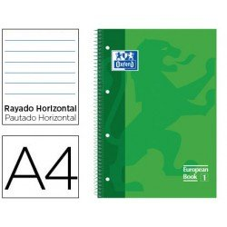 Bloc Oxford Din A4 tapa extradura microperforado Book1 rayado horizontal color Verde