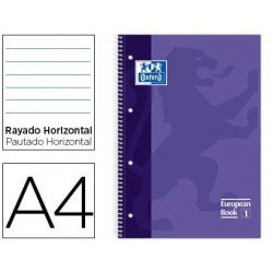 Bloc Oxford Din A4 tapa extradura microperforado Book1 rayado horizontal color Lila