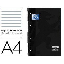 Bloc Oxford Din A4 tapa extradura microperforado Book1 rayado horizontal color Negro