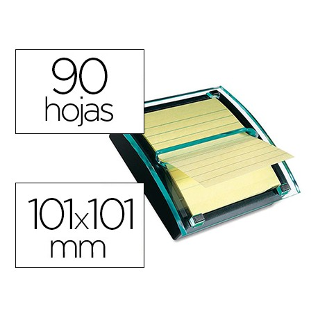 Dispensador Millenium notas adhesivas marca Post-it color transparente/negro Super Sticky con un Bloc