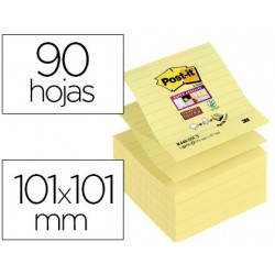 Post-it ® Bloc de notas adhesivas super sticky color amarillo rayado 101 x 101 mm 90 hojas pack 5 blocs Z-notes