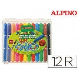 Estuche lapices de cera en barra marca Alpino 12 colores surtidos