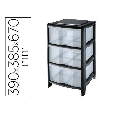 Fichero cajones Cep 3 cajones con ruedas 39,5x38,5x67 cm color negro/transparente