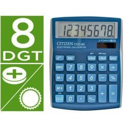 Calculadora sobremesa Citizen Modelo CDC-80 Celeste