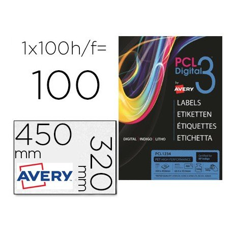 Etiqueta adhesiva marca Avery SRA3 blanca opaca 320x450 mm para impresora digital