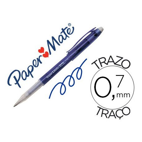 Boligrafo Borrable Paper Mate Replay premium con goma de borrar color azul