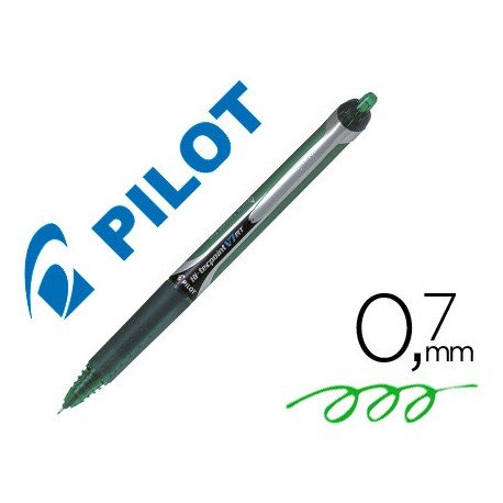 Boligrafo Pilot V-7 retractil 0,7 mm color verde