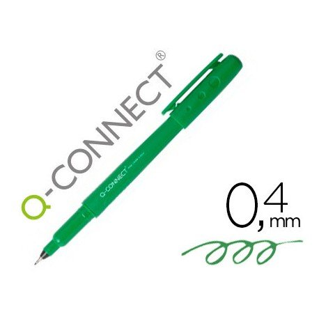 Rotulador Q-Connect punta de fibra color verde trazo 0.4 mm