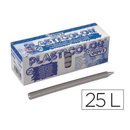 Lapices de cera Jovi Plasticolor gris caja de 25 unidades