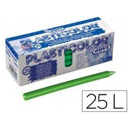 Lapices de cera Jovi Plasticolor unicolor verde claro caja de 25 unidades