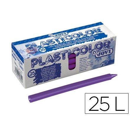 Lapices de cera Jovi Plasticolor unicolor violeta caja de 25 unidades