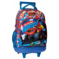 Mochila Escolar Blaze Race Con Ruedas y Carro 32x43x21cm Azul