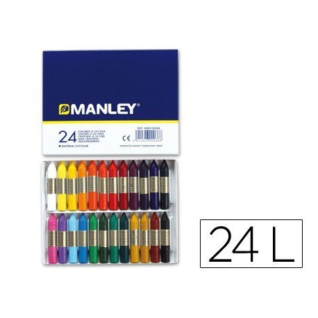 Lapices cera blanda Manley 24 unidades