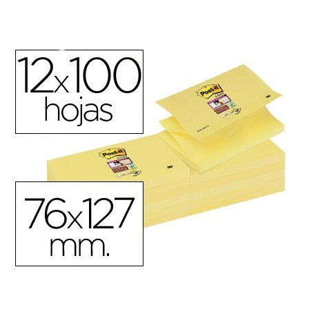 Bloc quita y pon Post-it ® Zigzag super sticky 76 x 127 mm amarillo