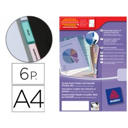 Separador Avery de plastico con 6 pestañas personalizable din a4