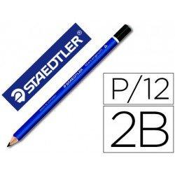 Lapices de grafito marca Staedtler mars ergosoft 2b caja de 12