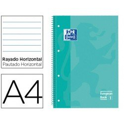 Bloc Oxford Din A4 tapa extradura microperforado Book1 rayado horizontal color Verde menta