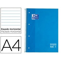 Bloc Oxford Din A4 tapa extradura microperforado Book1 rayado horizontal color Turquesa