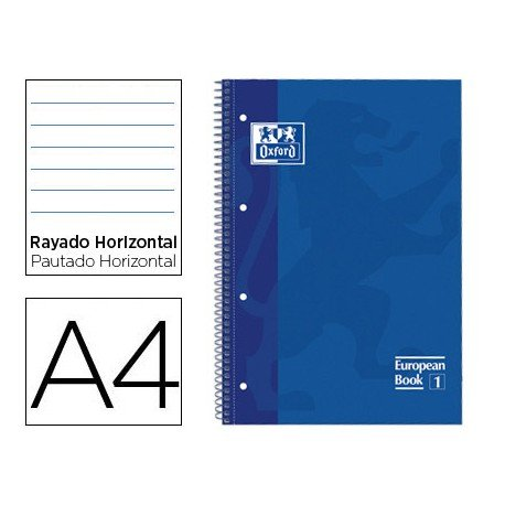 Bloc Oxford Din A4 tapa extradura microperforado Book1 rayado horizontal color Azul