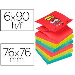 Bloc Quita y Pon Post-It ® Super Sticky Z-Notes 76X76 mm Colores Bora Bora