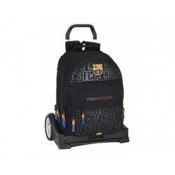 Mochila Escolar Doble F.C. Barcelona Con Carro Evolution32x16x42 cm Black