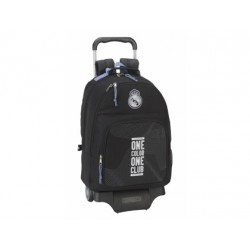 Mochila Escolar Doble Real Madrid con ruedas y carro 905 32x16x42 cm Black