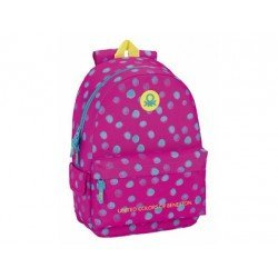 Mochila Escolar Benetton Adaptable a Carro 30x14x46 cm Dots